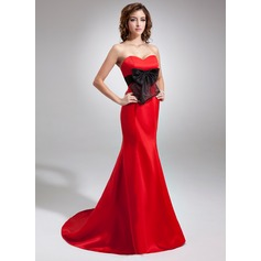 Trumpet/Mermaid Sweetheart Sweep Train Satin Evening Dress With Sash Bow(s)