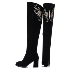 Women's Suede Chunky Heel Pumps Over The Knee Boots With Satin Flower Zipper shoes