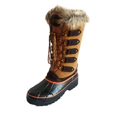 Women's Suede Rubber Flat Heel Boots Mid-Calf Boots Snow Boots With Lace-up shoes