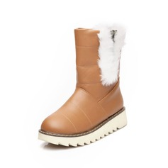 Leatherette Flat Heel Flats Closed Toe Mid-Calf Boots Snow Boots With Feather shoes
