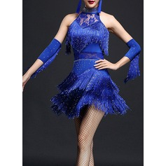 Women's Dancewear Polyester Latin Dance Dresses (115087950)