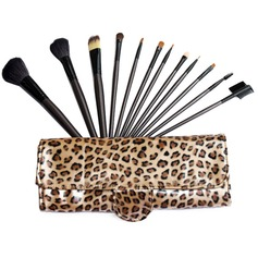 12 Pcs Natural Goat Hair Makeup Brush Set With Leopard Pouch