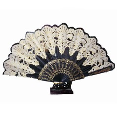 Floral Design Bamboo Silk Fan (Set of 4)