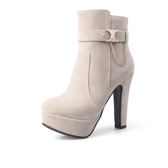 Women's Suede Low Heel Platform Ankle Boots With Buckle Zipper shoes