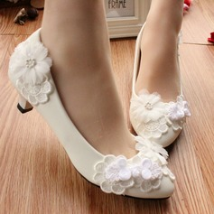 Women's Patent Leather Low Heel Closed Toe Pumps With Stitching Lace