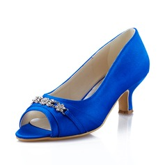 Women's Satin Spool Heel Peep Toe Pumps With Rhinestone