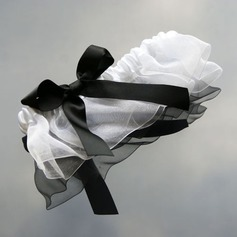 Elegant White Organza And Black Ribbon Wedding Garter (104019496)