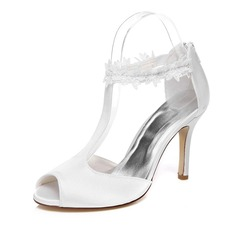 Women's Satin Stiletto Heel Peep Toe Sandals With Zipper