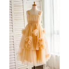 A-Line/Princess Knee-length Flower Girl Dress - Tulle Sleeveless Straps With Ruffles/Bow(s)/Pleated
