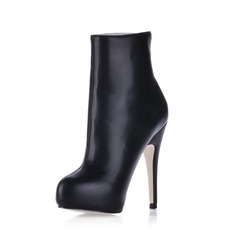 Leatherette Stiletto Heel Closed Toe Platform Ankle Boots