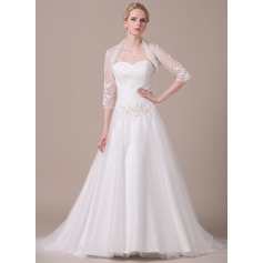 Ball-Gown Sweetheart Court Train Tulle Wedding Dress With Ruffle Lace Beading Sequins