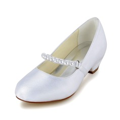 Kids' Satin Chunky Heel Closed Toe Pumps With Imitation Pearl