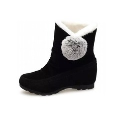 Women's Suede Wedge Heel Platform Ankle Boots With Fur shoes