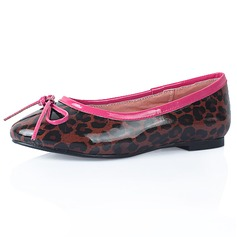 Patent Leather Flat Heel Closed Toe Flats With Bowknot Animal Print