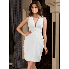 Sheath/Column V-neck Knee-Length Chiffon Cocktail Dress With Ruffle Beading (020037401)