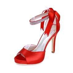 Women's Satin Stiletto Heel Closed Toe Sandals