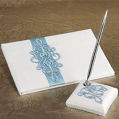 Teal Scroll Wedding Guest Book And Pen Set In White Satin(101018164)