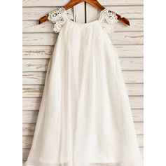 A-Line/Princess Tea-length Flower Girl Dress - Chiffon Short Sleeves Scoop Neck With Lace