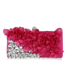 Charming Satin With Acrylic Jewels Clutches