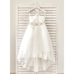 A-Line/Princess Ankle-length Flower Girl Dress - Satin/Lace Square Neckline With Sash (010091904)