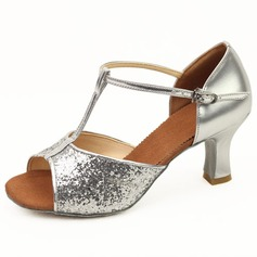 Women's Sparkling Glitter Heels Latin Ballroom With T-Strap Dance Shoes