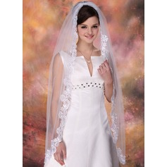 One-tier Waltz Bridal Veils With Lace Applique Edge