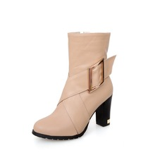 Leatherette Chunky Heel Ankle Boots With Buckle Zipper shoes