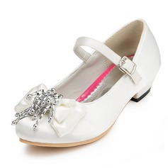 Kids' Satin Low Heel Closed Toe Pumps With Bowknot