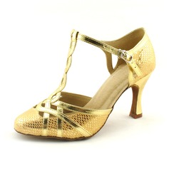 Women's Leatherette Sparkling Glitter Heels Pumps Modern With T-Strap Dance Shoes