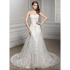 Trumpet/Mermaid Sweetheart Cathedral Train Tulle Lace Wedding Dress With Ruffle Beading Sequins