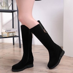 Women's Suede Flat Heel Wedges Knee High Boots With Zipper Chain shoes
