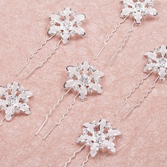 Flower Shaped Rhinestone/Alloy Hairpins(Set of 6)
