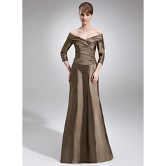 A-Line/Princess Off-the-Shoulder Sweep Train Taffeta Mother of the Bride Dress With Ruffle