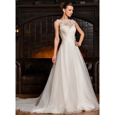 A-Line/Princess Scoop Neck Chapel Train Organza Lace Wedding Dress With Ruffle Flower(s)