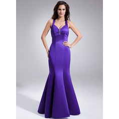 Trumpet/Mermaid V-neck Floor-Length Satin Bridesmaid Dress With Ruffle Beading