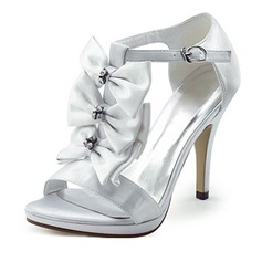 Women's Satin Stiletto Heel Platform Sandals With Bowknot Rhinestone