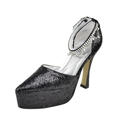 Women's Sparkling Glitter Stiletto Heel Closed Toe Pumps With Buckle
