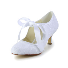 Kvinnor Spets Satin Spool Heel Stängt Toe Pumps med Ribbon Tie