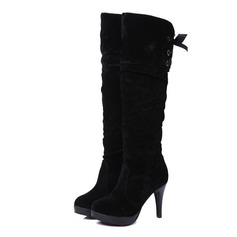 Women's Suede Stiletto Heel Platform Over The Knee Boots shoes