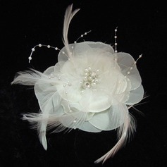 Glamourous Pearl Feather Chiffon Flowers Headpiece