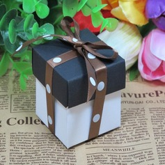 Black And White Favor Box With Brown Ribbon (Set of 12) (050026289)