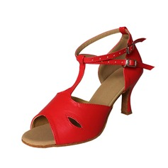Women's Leatherette Heels Sandals Latin Ballroom With T-Strap Buckle Dance Shoes