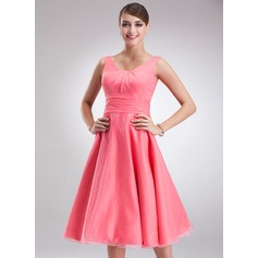 Empire Scoop Neck Knee-Length Organza Bridesmaid Dress With Ruffle