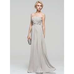 A-Line/Princess Sweetheart Floor-Length Chiffon Evening Dress With Ruffle Lace Beading Sequins