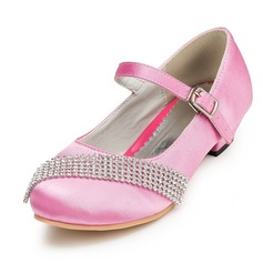 Girl's Satin Low Heel Closed Toe Pumps With Rhinestone