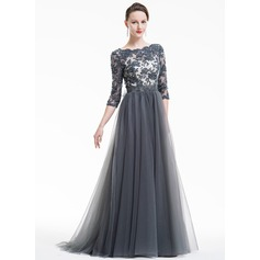 A-Line/Princess Scoop Neck Sweep Train Tulle Lace Evening Dress With Beading Sequins Bow(s)