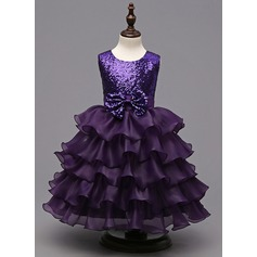 A-Line/Princess Knee-length Flower Girl Dress - Tulle/Polyester Sleeveless Scoop Neck With Ruffles/Bow(s)