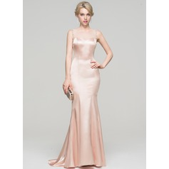 Trumpet/Mermaid Scoop Neck Sweep Train Charmeuse Evening Dress With Beading Sequins