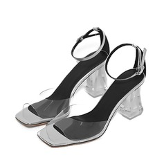 Women's PVC Chunky Heel Sandals Pumps Peep Toe shoes