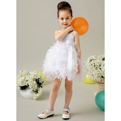 A-Line/Princess Knee-length Flower Girl Dress - Satin/Feather Sleeveless Square Neckline With Bow(s)